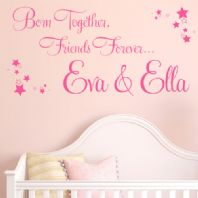 Born Together, Friends Forever Personalised Twins Wall sticker / decal